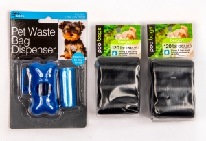 Pet Waste Bag Dispenser with Leash Attachment and Refills: Click to Enlarge