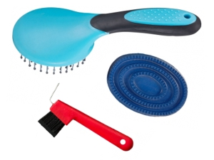 Equine Pick, Rubber Curry Brush, and Comb Set: Click to Enlarge