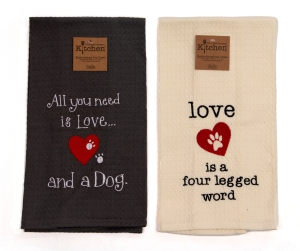 Two-Pack of Embroidered Tea Towels for Dog Lovers: Click to Enlarge