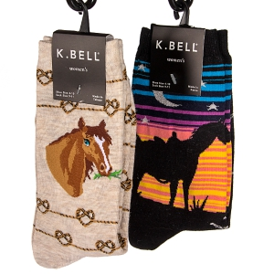 Two-Pack of Kbell Socks Horse Lover Patterns: Click to Enlarge
