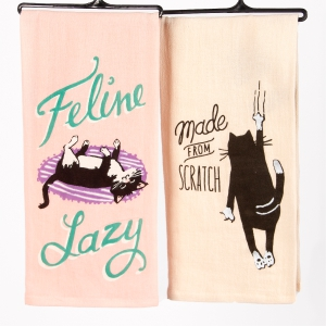 Two-Pack Printed Tea Towels Feline: Click to Enlarge