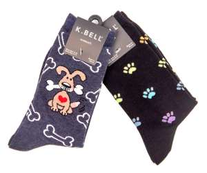 Two-Pack of Kbell Socks Dog Lover Patterns: Click to Enlarge