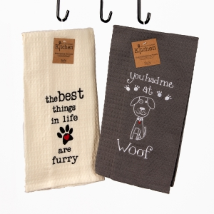 Two-Pack of Embroided Tea Towels Woof: Click to Enlarge