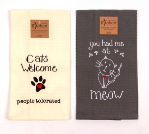 Two-Pack of Embroidered Tea Towels for Cat Lovers: Click to Enlarge
