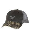 Distressed Camo Mesh Back Cap with Embroidered Logo: Click to Enlarge