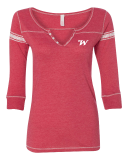 Womens  Henley Three-Quarter Sleeve Shirt With Embroidered Logo: Click to Enlarge