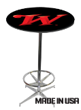 42 Inch Tall Steel Chrome Cross Base & Footrest with 30 inch Round Pub Table: Click to Enlarge