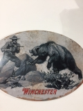 W1005 Winchester Man & Bear Tin Sign: Click to Enlarge