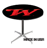 30 inch tall steel chrome cross base with 30 inch round logoed table: Click to Enlarge