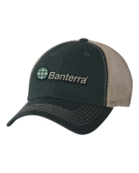 Hunter Green Tan Mesh Back Cap with Embroidered Logo: Click to Enlarge