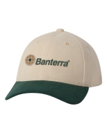 Green & Khaki Hat with Embroidered Logo: Click to Enlarge