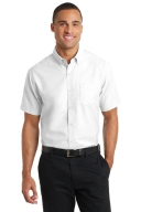White Mens Oxford with Embroidered 2 Color Logo: Click to Enlarge
